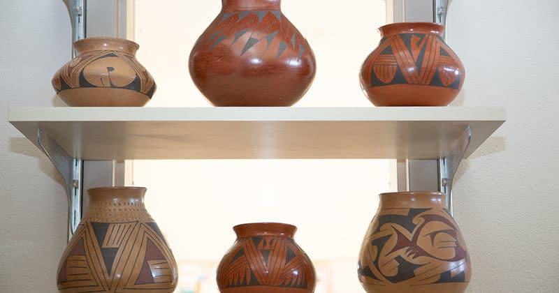 Display of decorative SouthWestern pots