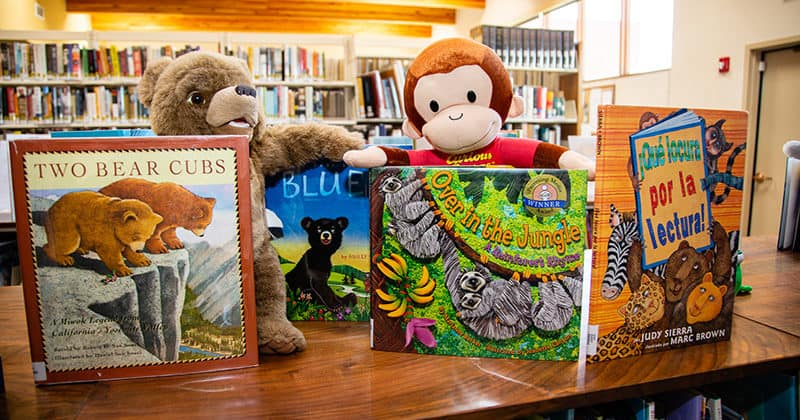 Children's books on display in the library