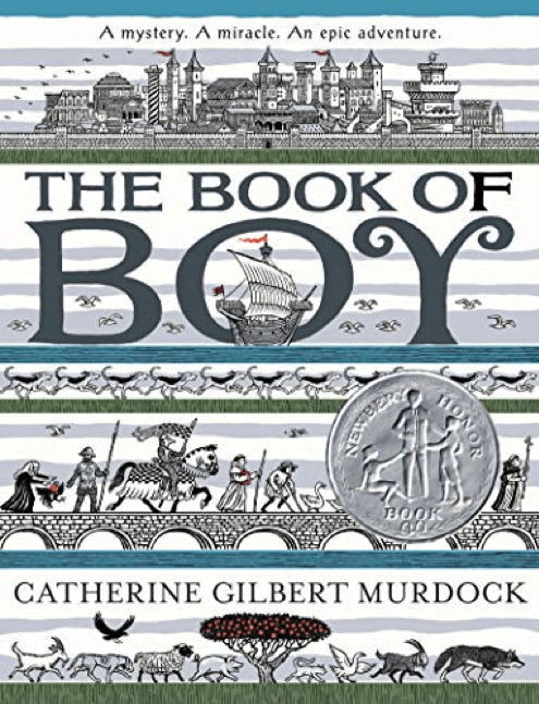 """Book cover for """"The Book of Boy"""" by Catherine Gilbery Murdock, featuring adventure scenes and a castle."""