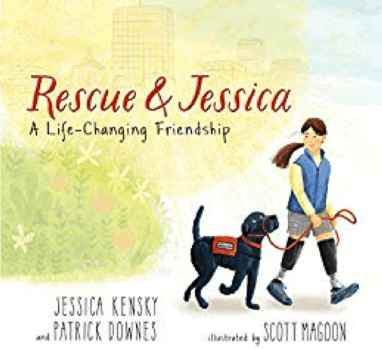 Book cover featuring a drawing of a young girl with prothsetic legs, walking with her black service dog.