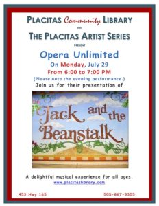 Placitas Artist Series poster for Opera Unlimited on Monday, July 29