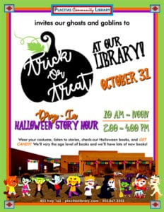 2019 Trick or Treat Flyer for Placitas Library