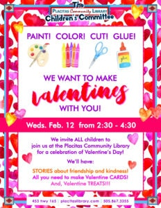 Flier for Valentine's Day at Placitas Community Library