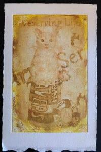 Yellowed Cat Drawing
