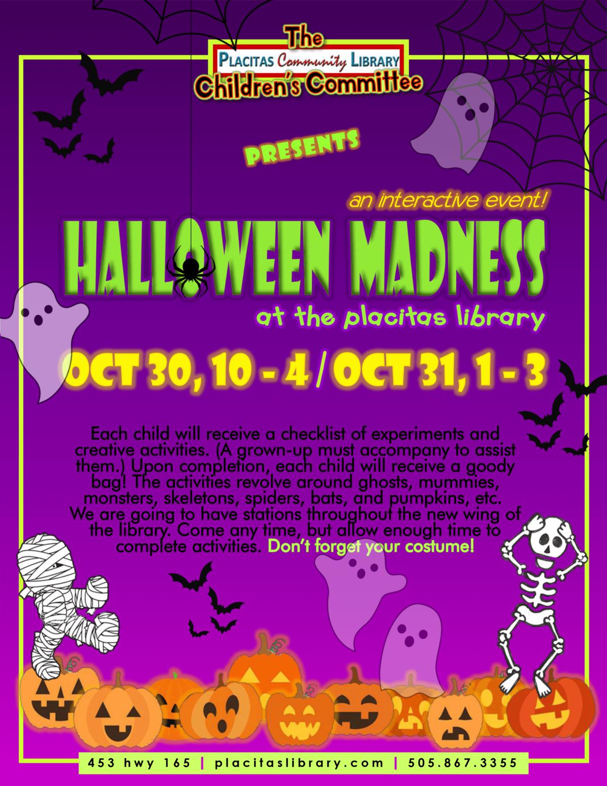 2021 Placitas Community Library Halloween Flyer